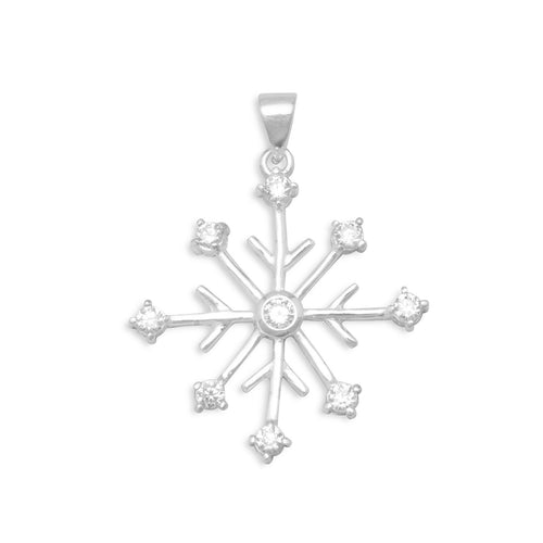 Rhodium Plated 8 Point Snowflake/9 CZ Pendant - the-southern-magnolia-too