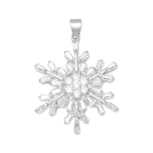 Rhodium Plated CZ Snowflake Pendant - the-southern-magnolia-too