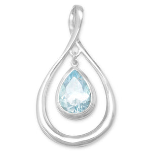 Pear Shape Pendant with Blue Topaz Drop - the-southern-magnolia-too