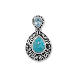 Blue Topaz and Turquoise Pendant - the-southern-magnolia-too