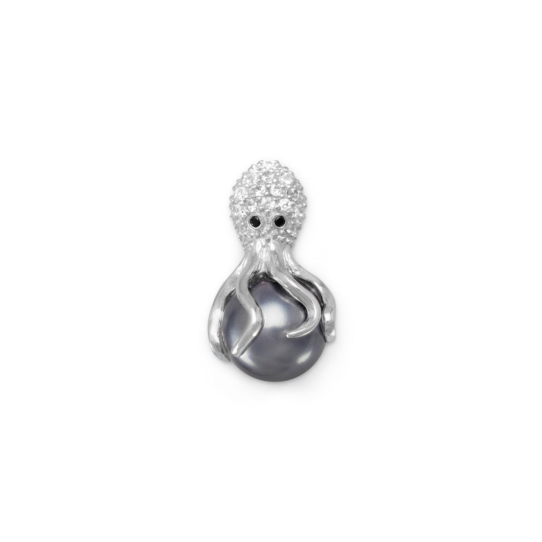 Rhodium Plated CZ and Simulated Pearl Octopus Slide - the-southern-magnolia-too