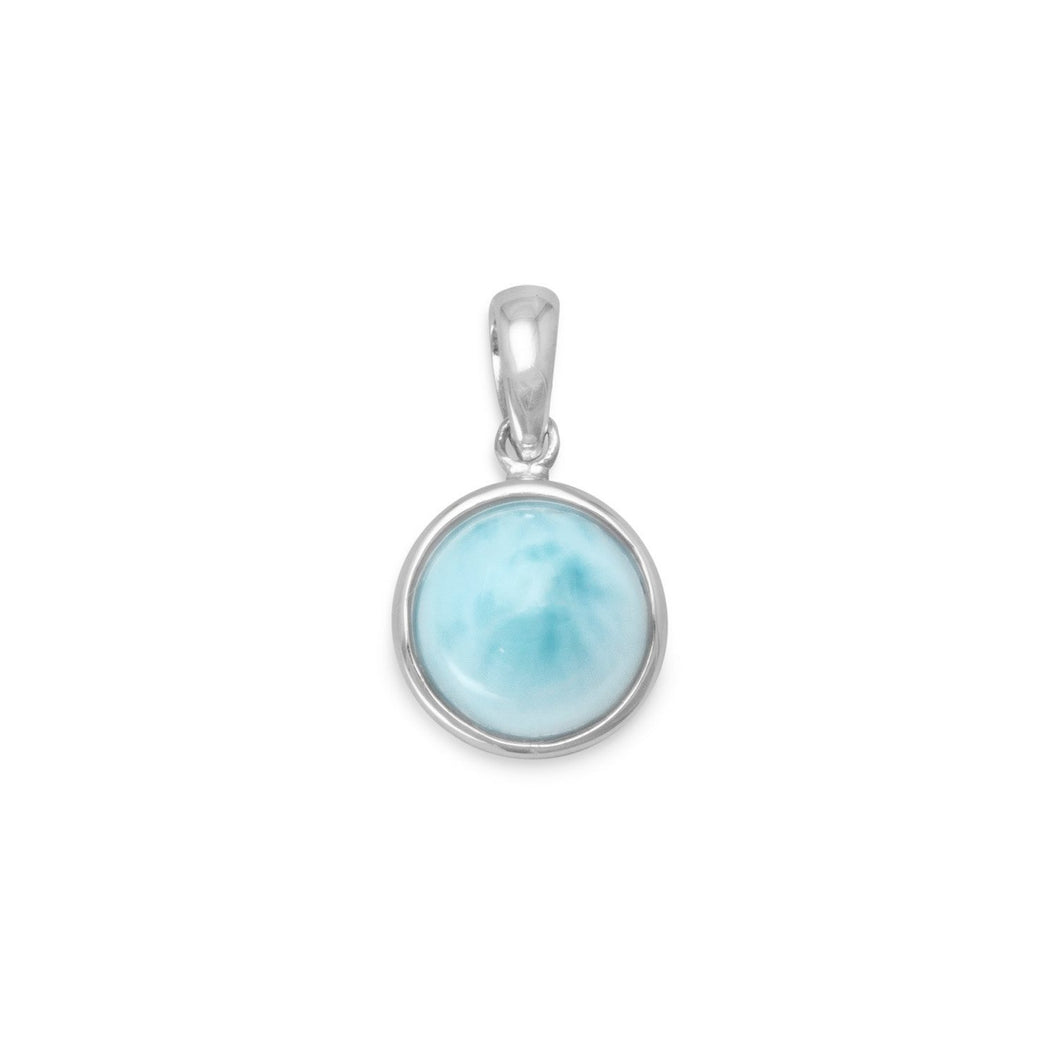 Rhodium Plated Round Larimar Pendant - the-southern-magnolia-too
