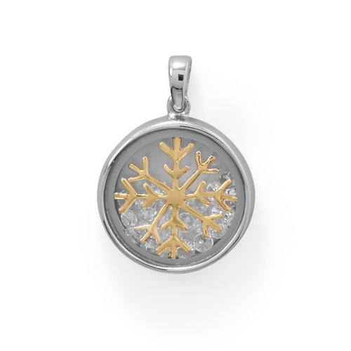 Two Tone Dancing CZ's Snowflake Pendant - the-southern-magnolia-too