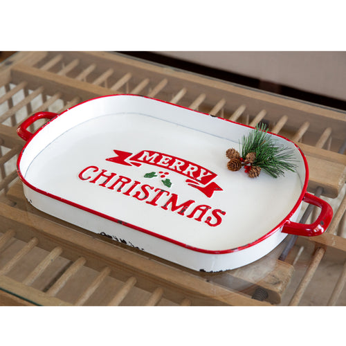 Merry Christmas Oval Enameled Metal Serving Tray - the-southern-magnolia-too