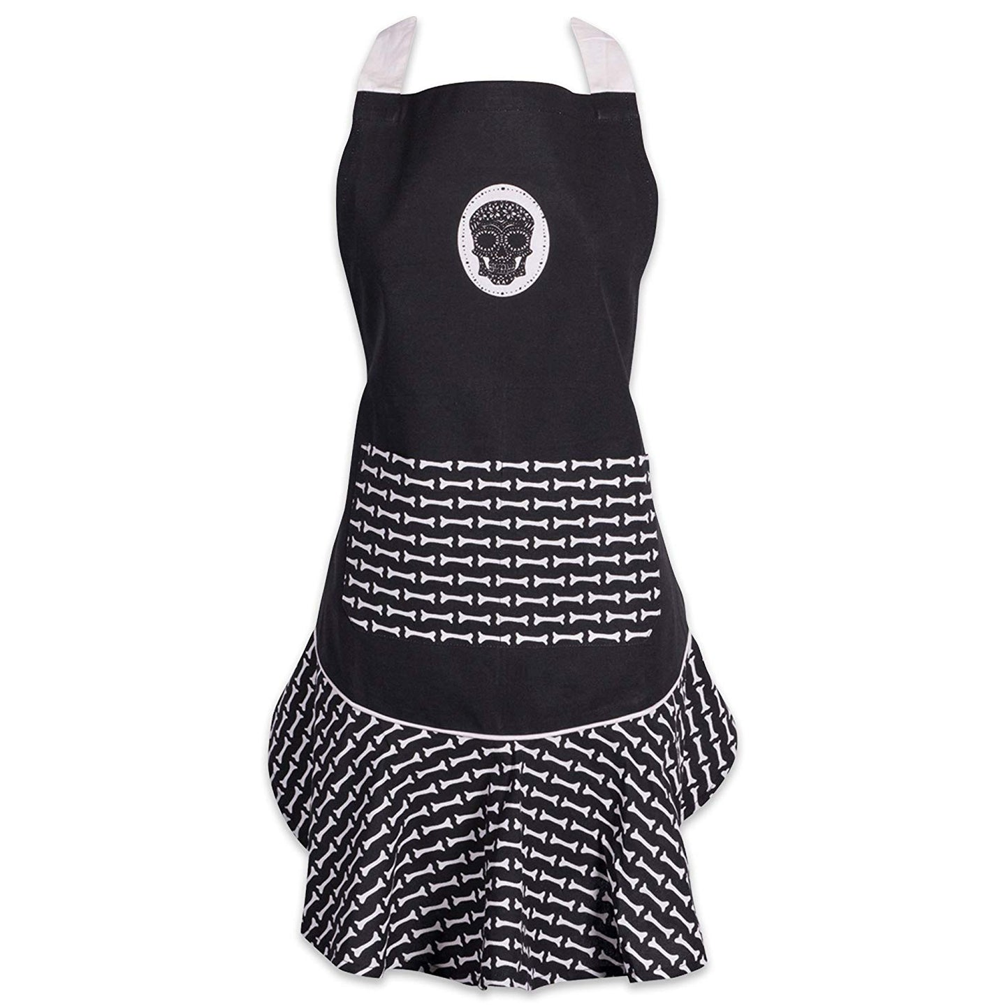 Dia De Los Muertos Ruffle Kitchen Apron with pocket - the-southern-magnolia-too
