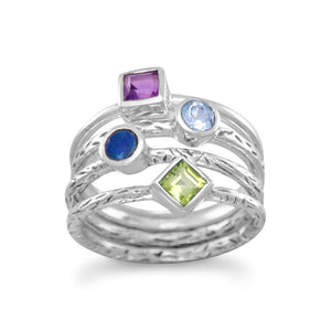 Silver Four Band Multistone Ring with Peridot Amethyst Blue Opal and Blue Topaz - the-southern-magnolia-too