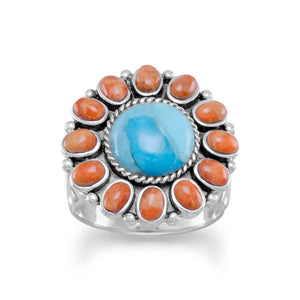 Reconstituted Turquoise and Coral Sunburst Ring - the-southern-magnolia-too
