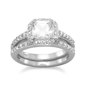 Cubic Zirconia CZ Sterling Silver Bridal Wedding Two Ring Set - the-southern-magnolia-too