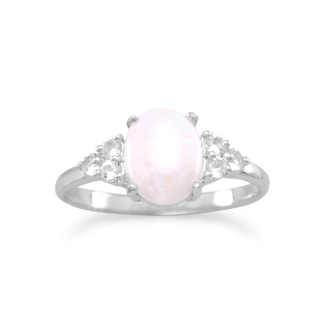 Rhodium Plated Australian Opal and White Topaz Ring - the-southern-magnolia-too