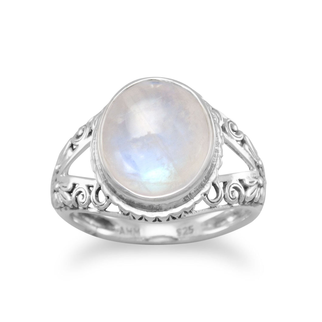 Oxidized Ornate Rainbow Moonstone Ring - the-southern-magnolia-too