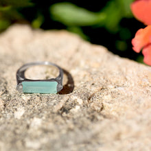 Load image into Gallery viewer, Rhodium Plated Green Chalcedony Bar Ring - the-southern-magnolia-too