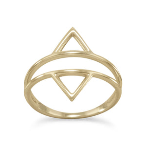 Gold Plated Double Triangle Ring - the-southern-magnolia-too