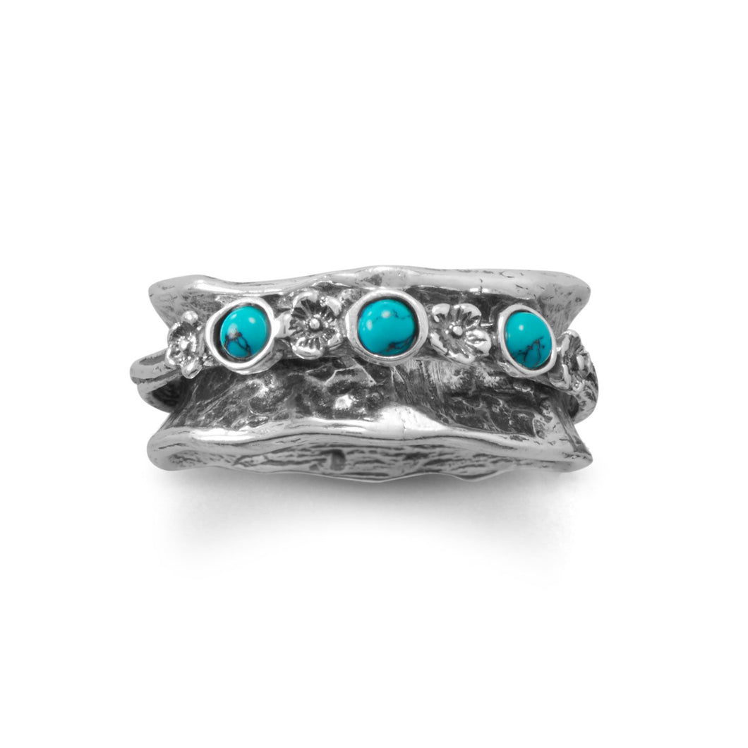 Oxidized Spin Ring with Reconstituted Turquoise Stones - the-southern-magnolia-too