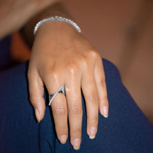Load image into Gallery viewer, Rhodium Plated Diagonal CZ Ribbon Ring - the-southern-magnolia-too