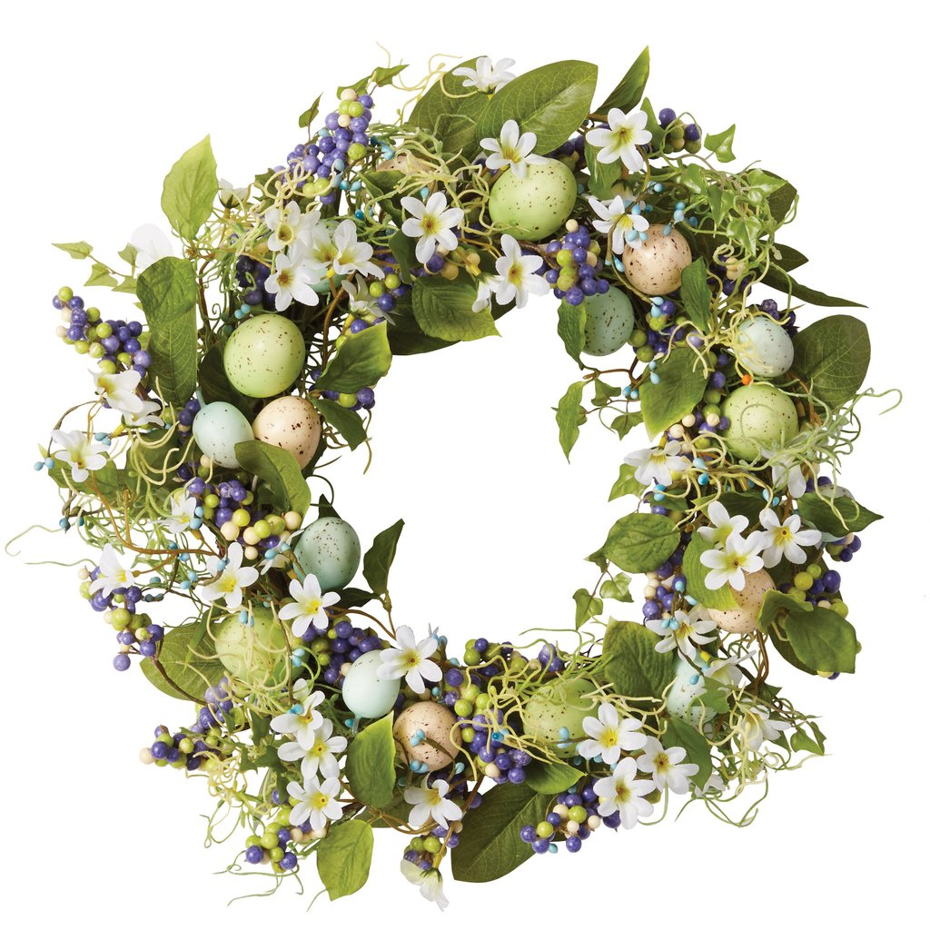 Blue Eggs and Flowers Wreath - the-southern-magnolia-too