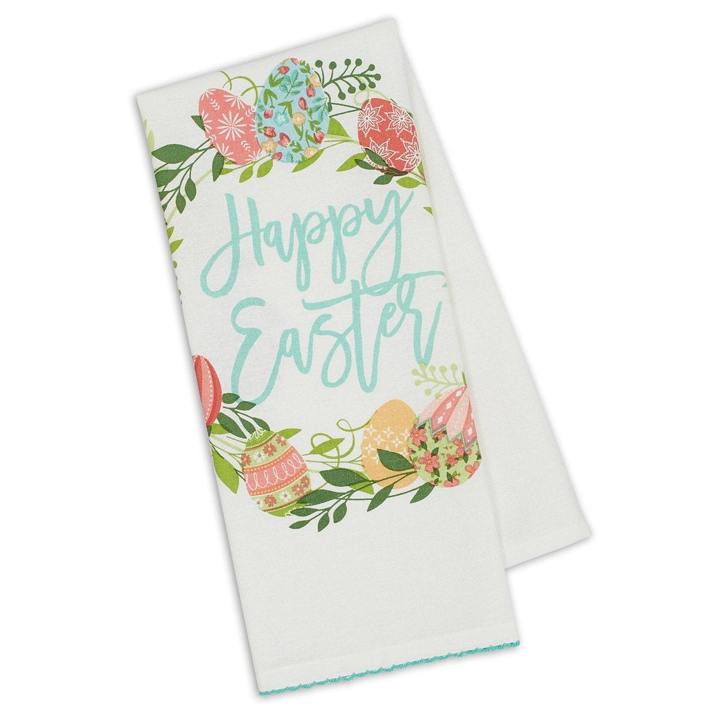 Happy Easter Wreath Printed Dishtowel - the-southern-magnolia-too