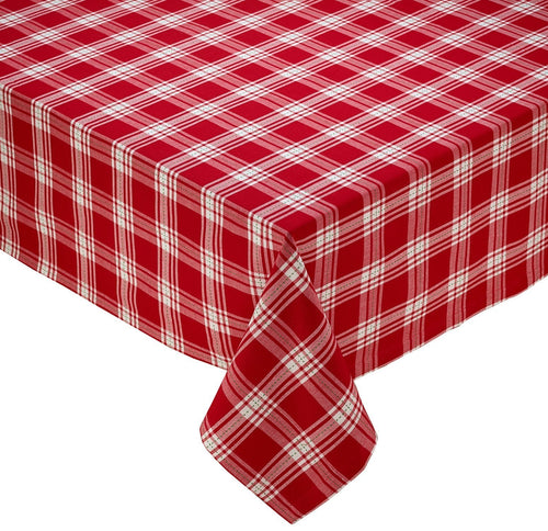 Sprig Dobby Red Checks Plaid Tablecloth - the-southern-magnolia-too