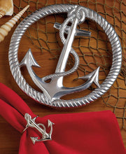 Load image into Gallery viewer, Silver Cast Aluminum Anchor and Rope Trivet - the-southern-magnolia-too