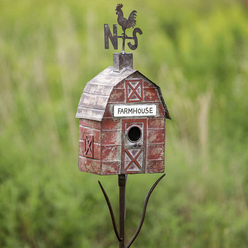 Red Metal Barn Garden Birdhouse - the-southern-magnolia-too