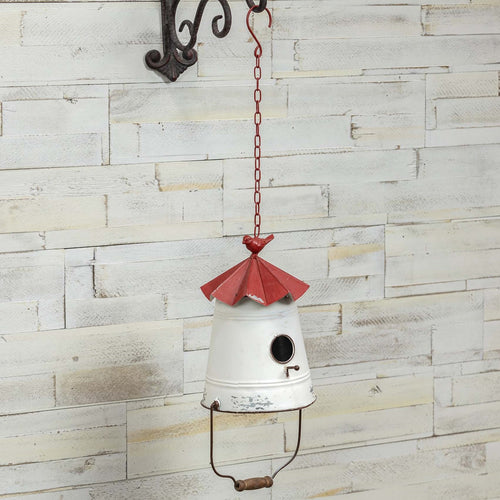 Inverted Bucket Metal Garden Birdhouse - the-southern-magnolia-too