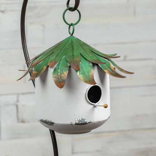 Green Leaf Metal Garden Birdhouse - the-southern-magnolia-too