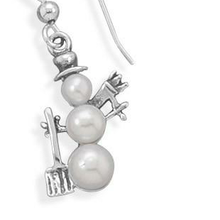Load image into Gallery viewer, Cultured Freshwater Pearl Snowman Earrings - the-southern-magnolia-too