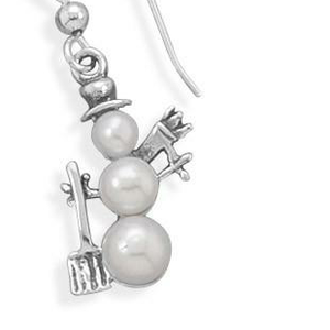 Cultured Freshwater Pearl Snowman Earrings - the-southern-magnolia-too