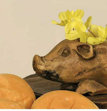 Load image into Gallery viewer, Small Resin Pig Bread Bowl - the-southern-magnolia-too