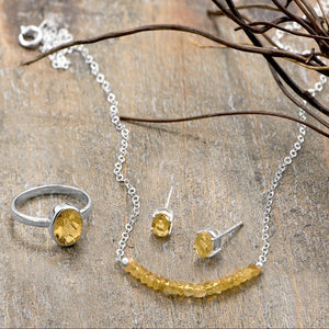Faceted Citrine Bead Necklace - November Birthstone - the-southern-magnolia-too