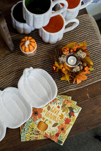 Pumpkin and Basket Ceramic Salt and Pepper Shaker Set - the-southern-magnolia-too