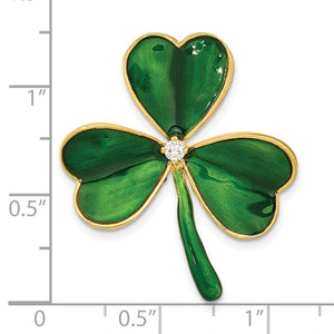 Sterling Silver Gold-tone CZ Green Enamel Clover Pin - the-southern-magnolia-too
