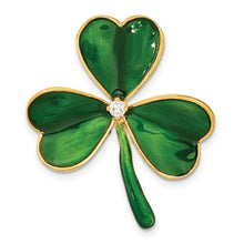 Load image into Gallery viewer, Sterling Silver Gold-tone CZ Green Enamel Clover Pin - the-southern-magnolia-too