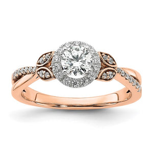 Rose Pink Gold Round Halo Diamond Engagement Ring - the-southern-magnolia-too