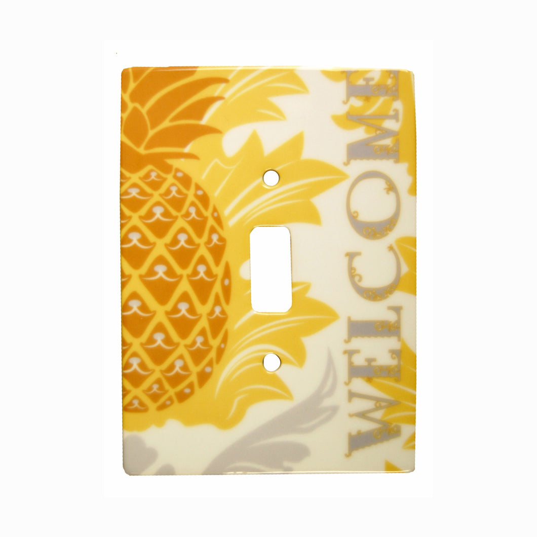 Pineapple Ceramic Single Switch Wall Floater Plate - the-southern-magnolia-too