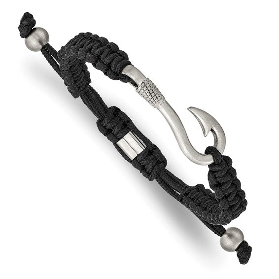 Stainless Steel Brushed Fishing Hook Black Nylon Adjustable Bracelet - the-southern-magnolia-too
