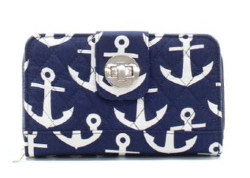 Anchor Quilted Navy Wallet - the-southern-magnolia-too