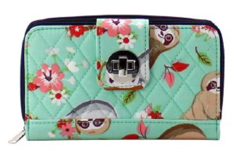 NGIL Hang in There Quilted Sloth Twist Lock Wallet - the-southern-magnolia-too