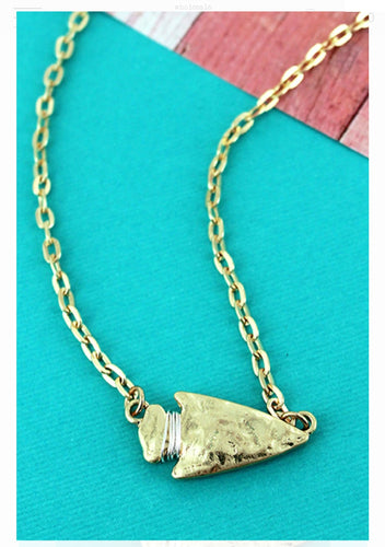 Crave Hammered Goldtone Arrowhead Necklace - the-southern-magnolia-too