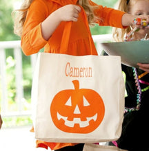 Load image into Gallery viewer, Jack-O-Lantern Canvas Tote - the-southern-magnolia-too