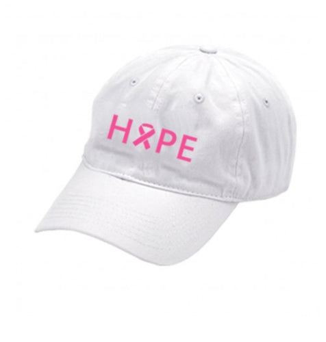 Hope Breast Cancer Awareness White Cap - the-southern-magnolia-too