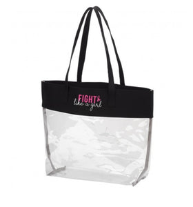 Fight Like A Girl Black Clear Tote - the-southern-magnolia-too