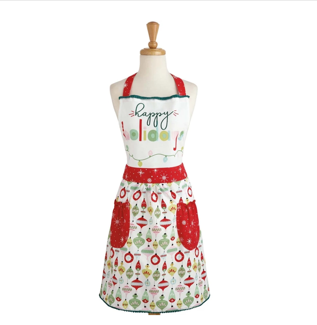 Happy Holidays Embellished Apron - the-southern-magnolia-too