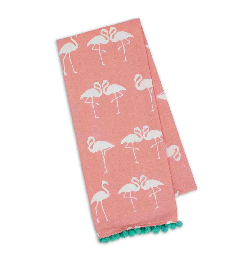 Flamingo PomPom Printed Dishtowel Set - the-southern-magnolia-too