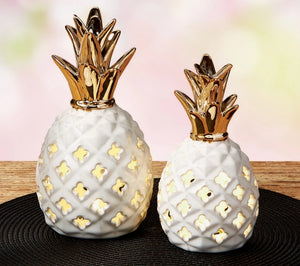 Small Ceramic Pineapple LED Lantern - the-southern-magnolia-too