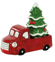 Load image into Gallery viewer, Christmas Tree and Red Truck Ceramic Salt and Pepper Shaker Set - the-southern-magnolia-too