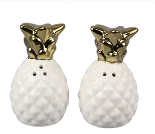 Gold pineapple salt shaker set