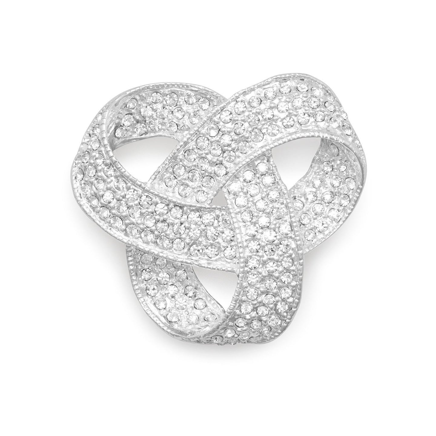 Silver Plated Crystal Love Knot Fashion Pin - the-southern-magnolia-too