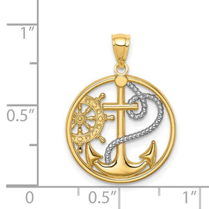 Gold and Rhodium Cross Anchor Captain Wheel Pendant - the-southern-magnolia-too