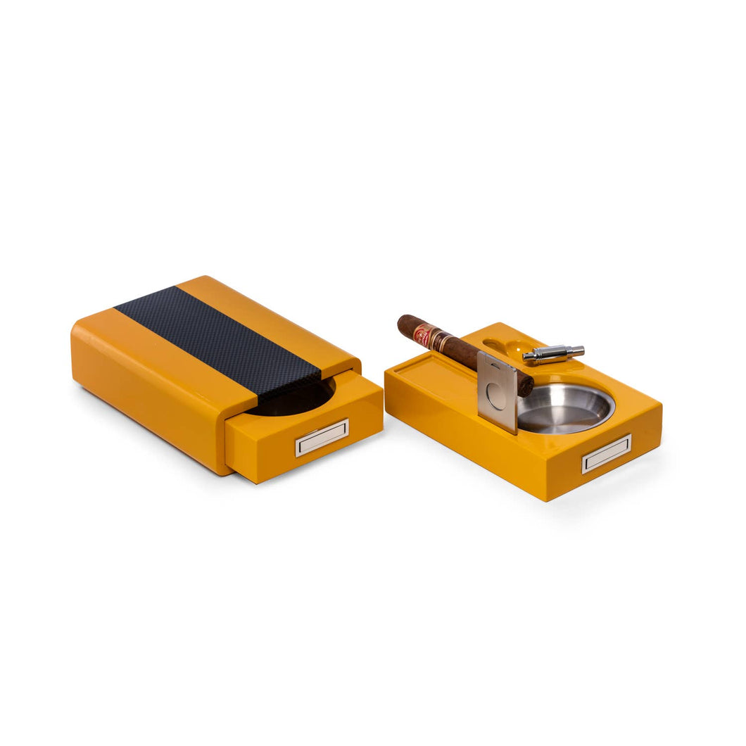 Yellow Lacquered Wood and Carbon Fiber Ashtray Cutter Punch - the-southern-magnolia-too