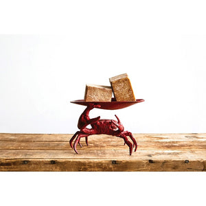 Decorative Cast Iron Crab Dish Distressed Red - the-southern-magnolia-too